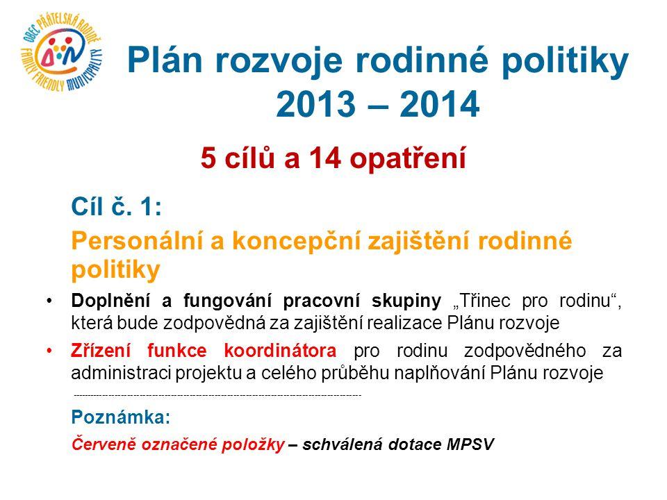 Plán rozvoje rodinné politiky 2013 – 2014 5 cílů a 14 opatření Cíl č.