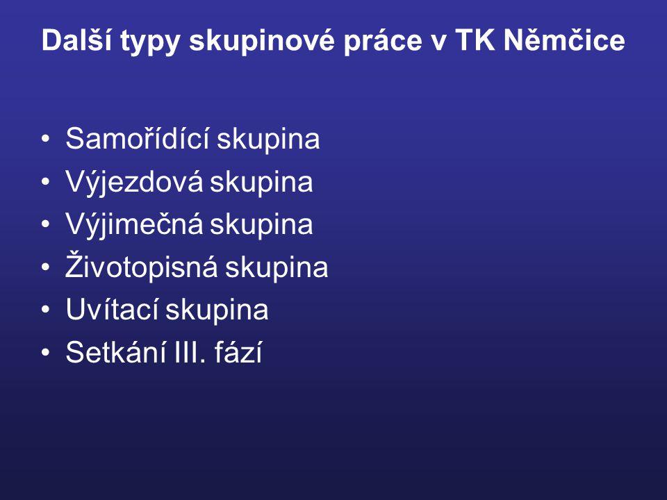Další typy skupinové práce v TK Němčice Samořídící skupina Výjezdová skupina Výjimečná skupina Životopisná skupina Uvítací skupina Setkání III.