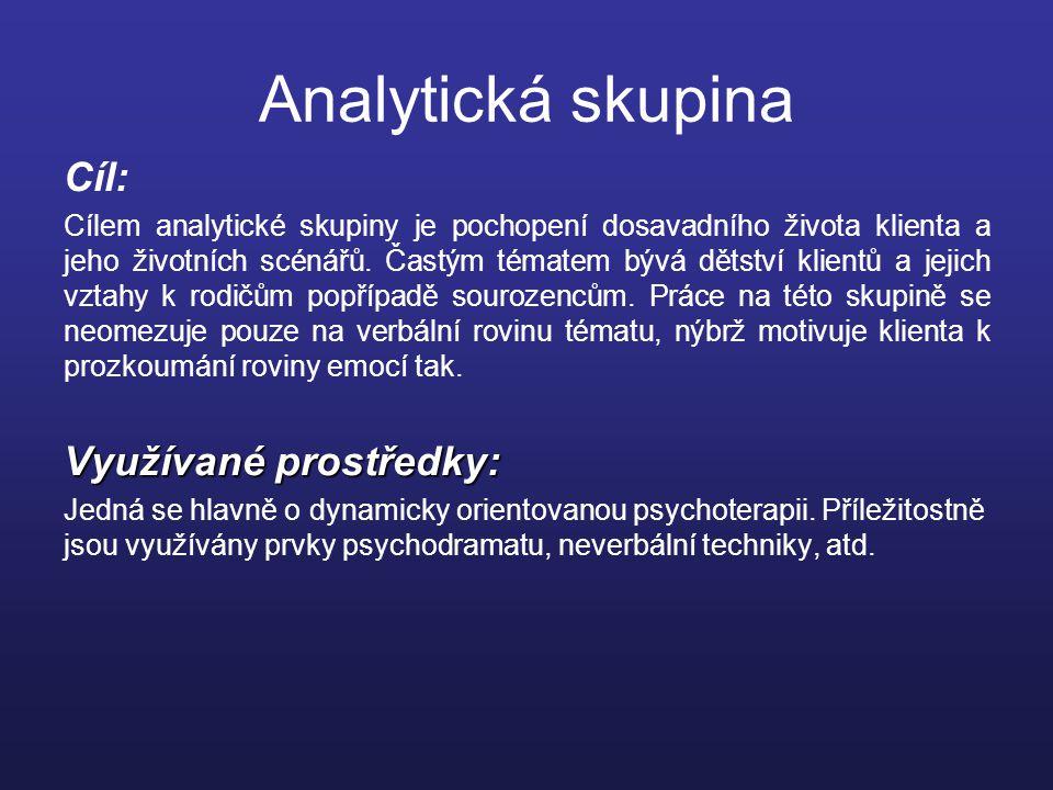 Analytická skupina Cíl: Cílem analytické skupiny je pochopení dosavadního života klienta a jeho životních scénářů.