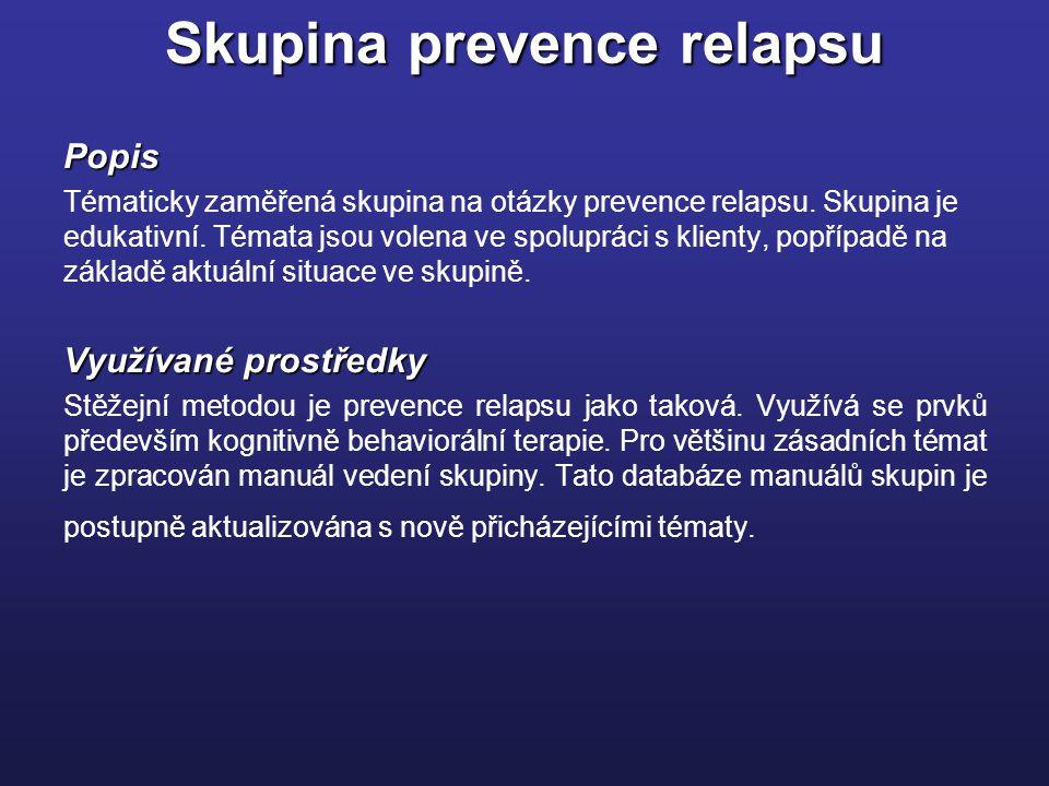 Skupina prevence relapsu Popis Tématicky zaměřená skupina na otázky prevence relapsu.