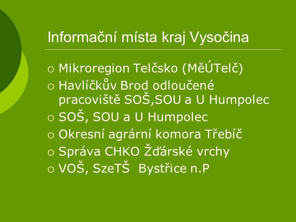 Informační místa kraj Vysočina  Mikroregion Telčsko (MěÚTelč)  Havlíčkův Brod odloučené pracoviště SOŠ,SOU a U Humpolec  SOŠ, SOU a U Humpolec  Ok