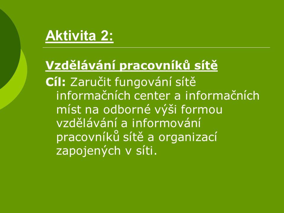 Aktivita 2: Vzdělávání pracovníků sítě Cíl: Zaručit fungování sítě informačních center a informačních míst na odborné výši formou vzdělávání a informo