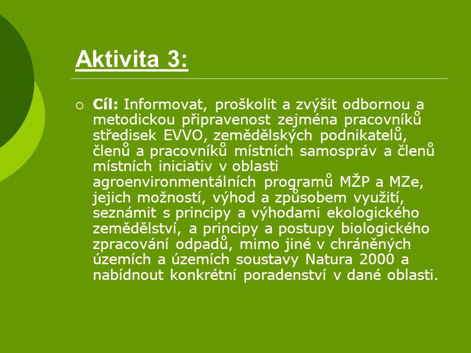 Aktivita 3:  Cíl: Informovat, proškolit a zvýšit odbornou a metodickou připravenost zejména pracovníků středisek EVVO, zemědělských podnikatelů, člen