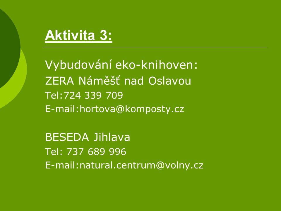 Aktivita 3: Vybudování eko-knihoven: ZERA Náměšť nad Oslavou Tel:724 339 709 E-mail:hortova@komposty.cz BESEDA Jihlava Tel: 737 689 996 E-mail:natural