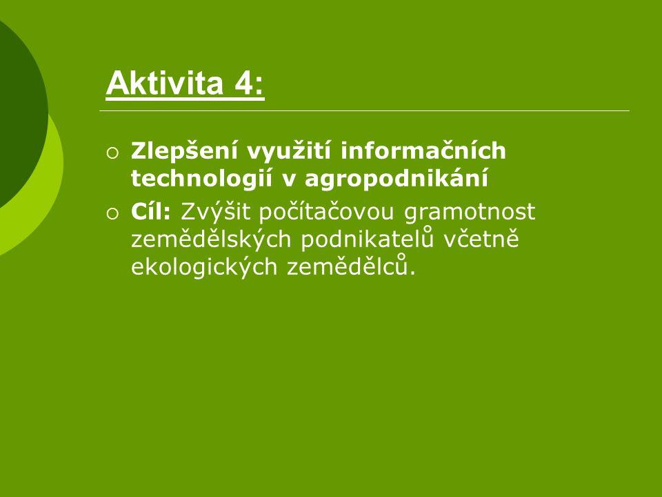 Aktivita 4:  Zlepšení využití informačních technologií v agropodnikání  Cíl: Zvýšit počítačovou gramotnost zemědělských podnikatelů včetně ekologick