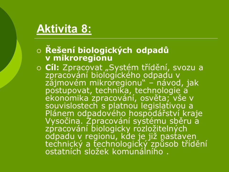 """Aktivita 8:  Řešení biologických odpadů v mikroregionu  Cíl: Zpracovat """"Systém třídění, svozu a zpracování biologického odpadu v zájmovém mikroregio"""