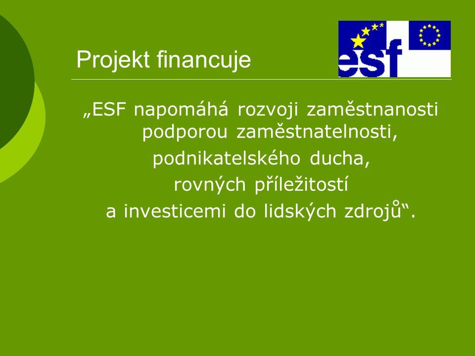 """Projekt financuje """"ESF napomáhá rozvoji zaměstnanosti podporou zaměstnatelnosti, podnikatelského ducha, rovných příležitostí a investicemi do lidských"""