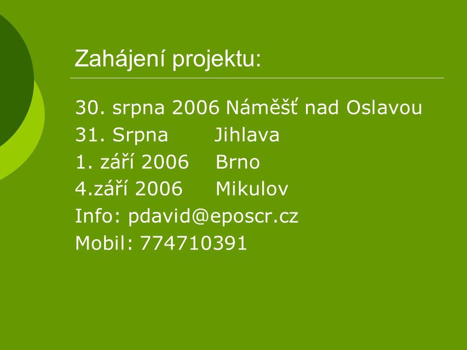 Zahájení projektu: 30. srpna 2006 Náměšť nad Oslavou 31. Srpna Jihlava 1. září 2006 Brno 4.září 2006 Mikulov Info: pdavid@eposcr.cz Mobil: 774710391