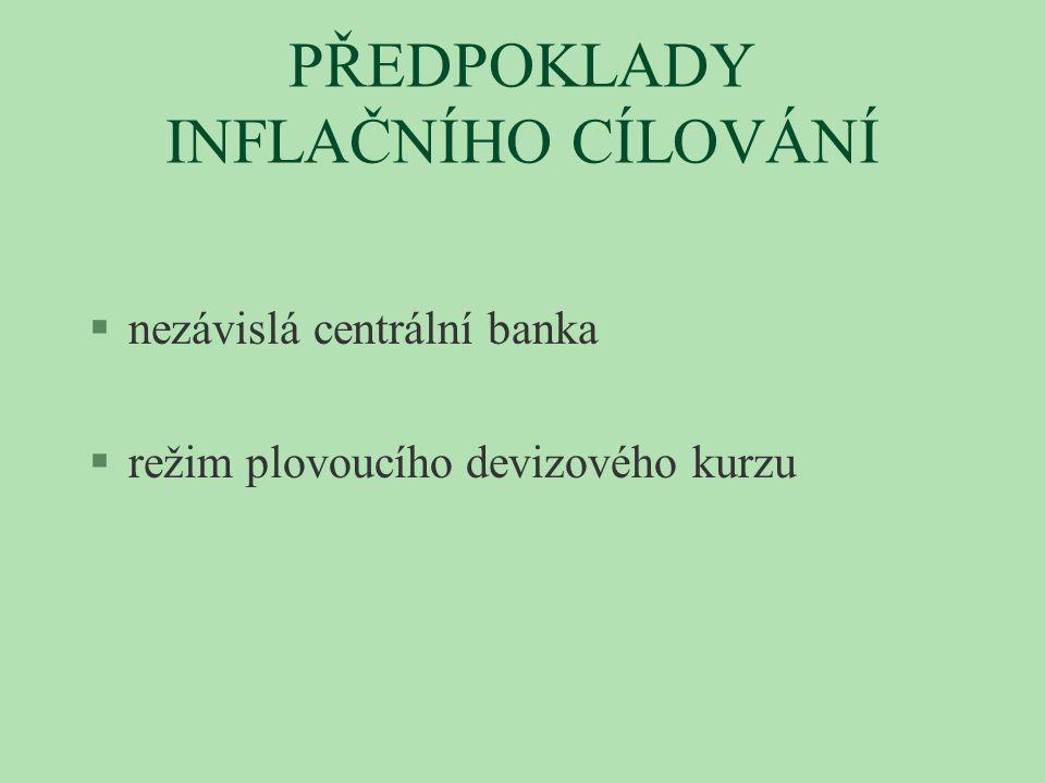 PŘEDPOKLADY INFLAČNÍHO CÍLOVÁNÍ §nezávislá centrální banka §režim plovoucího devizového kurzu