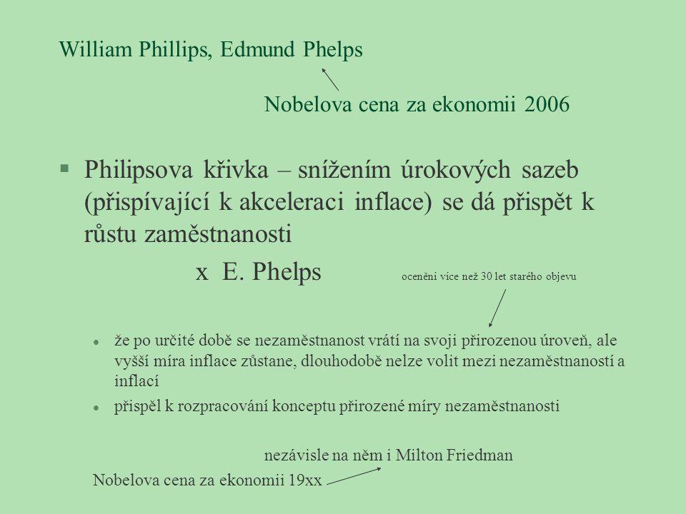 William Phillips, Edmund Phelps Nobelova cena za ekonomii 2006 §Philipsova křivka – snížením úrokových sazeb (přispívající k akceleraci inflace) se dá