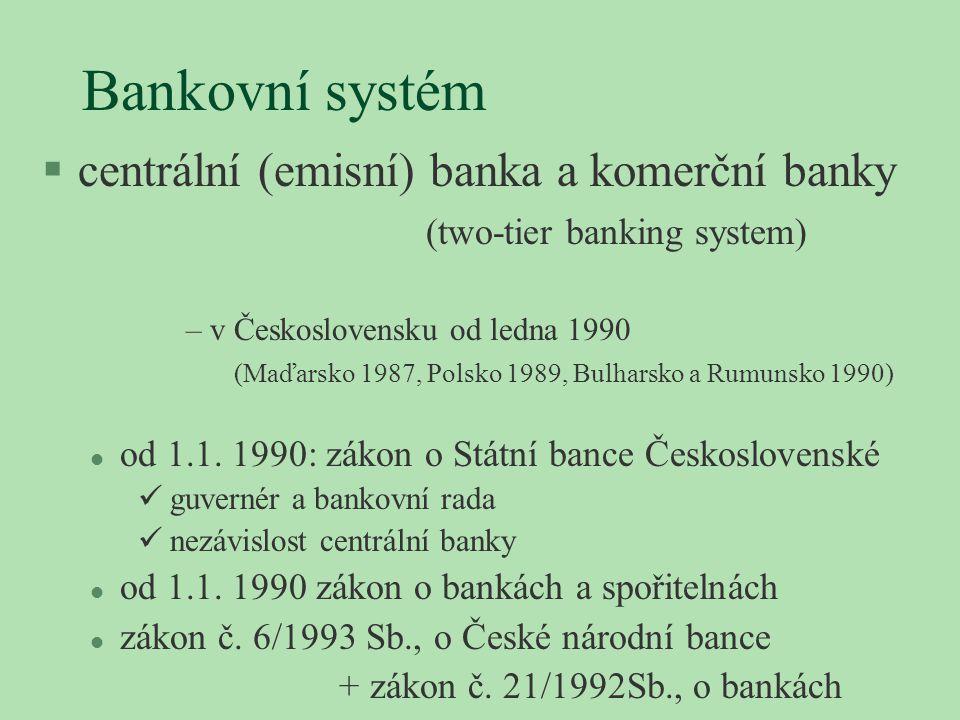 Bankovní systém §centrální (emisní) banka a komerční banky (two-tier banking system) –v Československu od ledna 1990 (Maďarsko 1987, Polsko 1989, Bulh