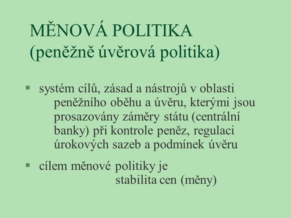 MĚNOVÁ POLITIKA (peněžně úvěrová politika) § systém cílů, zásad a nástrojů v oblasti peněžního oběhu a úvěru, kterými jsou prosazovány záměry státu (c