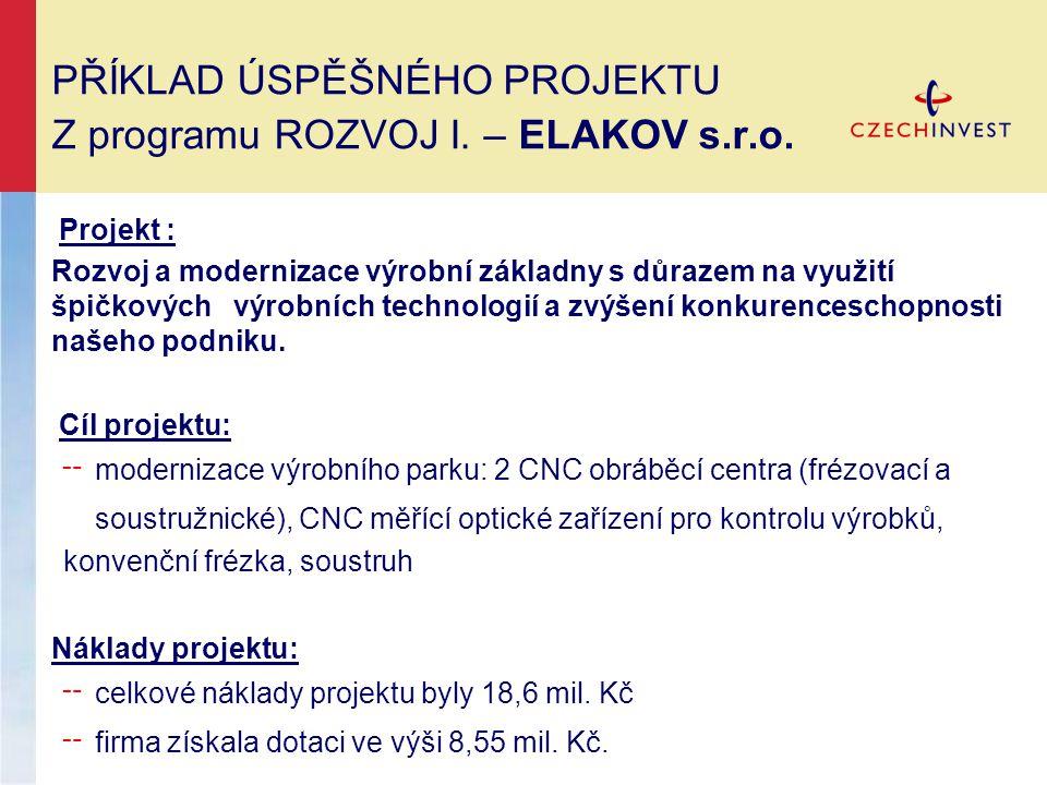 PŘÍKLAD ÚSPĚŠNÉHO PROJEKTU Z programu ROZVOJ I.– ELAKOV s.r.o.