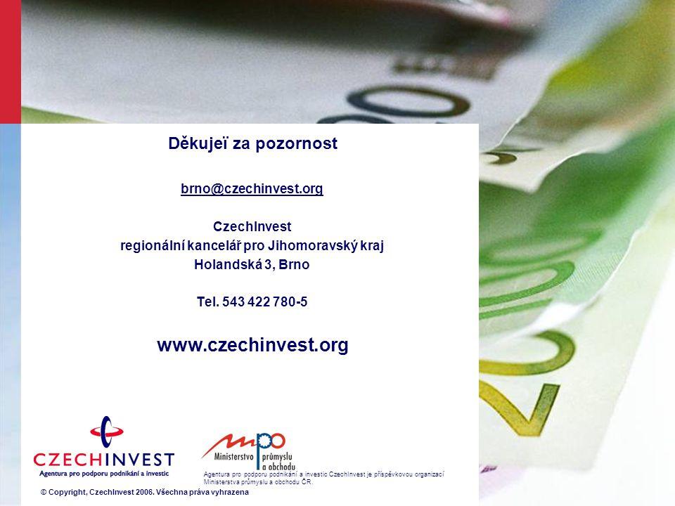 Děkujeï za pozornost brno@czechinvest.org CzechInvest regionální kancelář pro Jihomoravský kraj Holandská 3, Brno Tel.