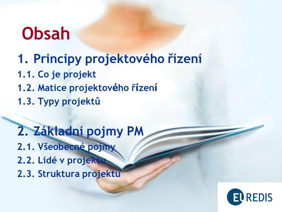 1.Principy projektového řízení 1.1. Co je projekt 1.2.