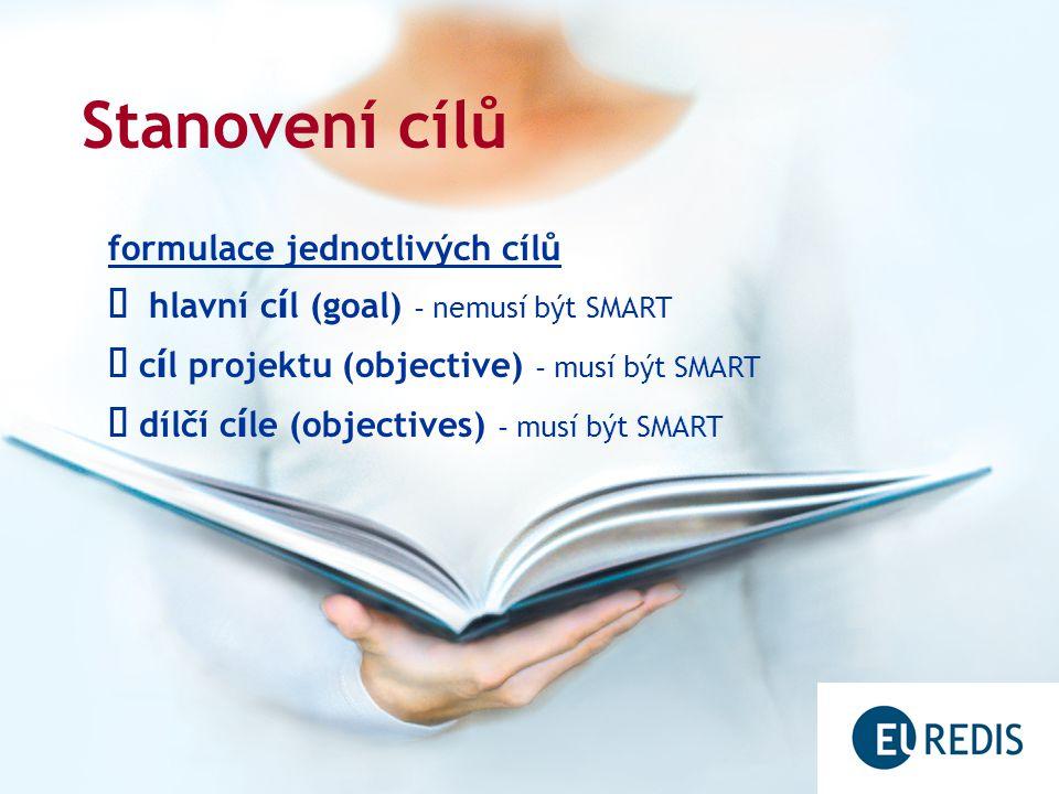 Stanovení cílů formulace jednotlivých cílů  hlavní c í l (goal) – nemusí být SMART  c í l projektu (objective) – musí být SMART  dílčí c í le (objectives) – musí být SMART