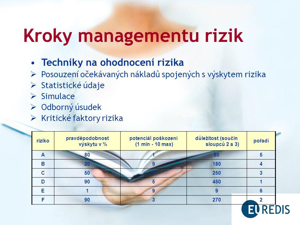 Kroky managementu rizik Techniky na ohodnocení rizika  Posouzení očekávaných nákladů spojených s výskytem rizika  Statistické údaje  Simulace  Odborný úsudek  Kritické faktory rizika riziko pravděpodobnost výskytu v % potenciál poškození (1 min - 10 max) důležitost (součin sloupců 2 a 3) pořadí A801 5 B2091804 C5052503 D9054501 E1996 F9032702