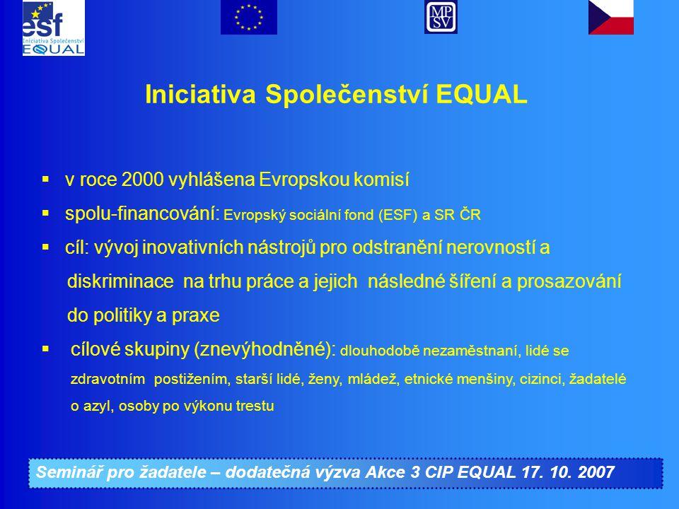 Seminář pro žadatele – dodatečná výzva Akce 3 CIP EQUAL 17. 10. 2007 Iniciativa Společenství EQUAL  v roce 2000 vyhlášena Evropskou komisí  spolu-fi