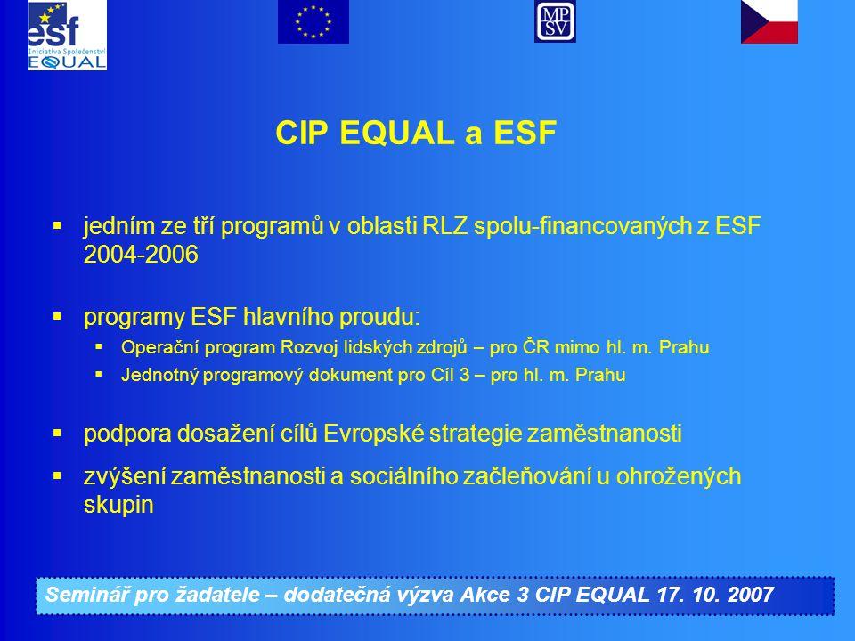 Seminář pro žadatele – dodatečná výzva Akce 3 CIP EQUAL 17. 10. 2007 CIP EQUAL a ESF  jedním ze tří programů v oblasti RLZ spolu-financovaných z ESF