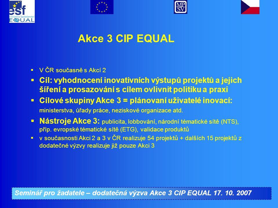 Seminář pro žadatele – dodatečná výzva Akce 3 CIP EQUAL 17. 10. 2007 Akce 3 CIP EQUAL  V ČR současně s Akcí 2  Cíl: vyhodnocení inovativních výstupů