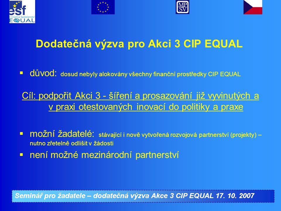 Seminář pro žadatele – dodatečná výzva Akce 3 CIP EQUAL 17. 10. 2007 Dodatečná výzva pro Akci 3 CIP EQUAL  důvod: dosud nebyly alokovány všechny fina