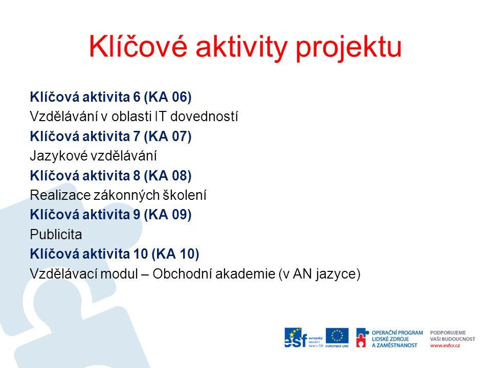 Klíčové aktivity projektu Klíčová aktivita 6 (KA 06) Vzdělávání v oblasti IT dovedností Klíčová aktivita 7 (KA 07) Jazykové vzdělávání Klíčová aktivit