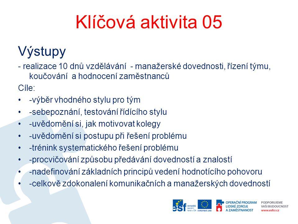 Klíčová aktivita 05 Výstupy - realizace 10 dnů vzdělávání - manažerské dovednosti, řízení týmu, koučování a hodnocení zaměstnanců Cíle: -výběr vhodnéh