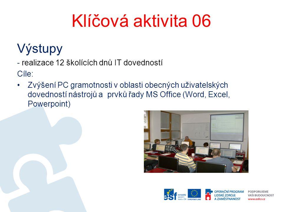 Klíčová aktivita 06 Výstupy - realizace 12 školících dnů IT dovedností Cíle: Zvýšení PC gramotnosti v oblasti obecných uživatelských dovedností nástro