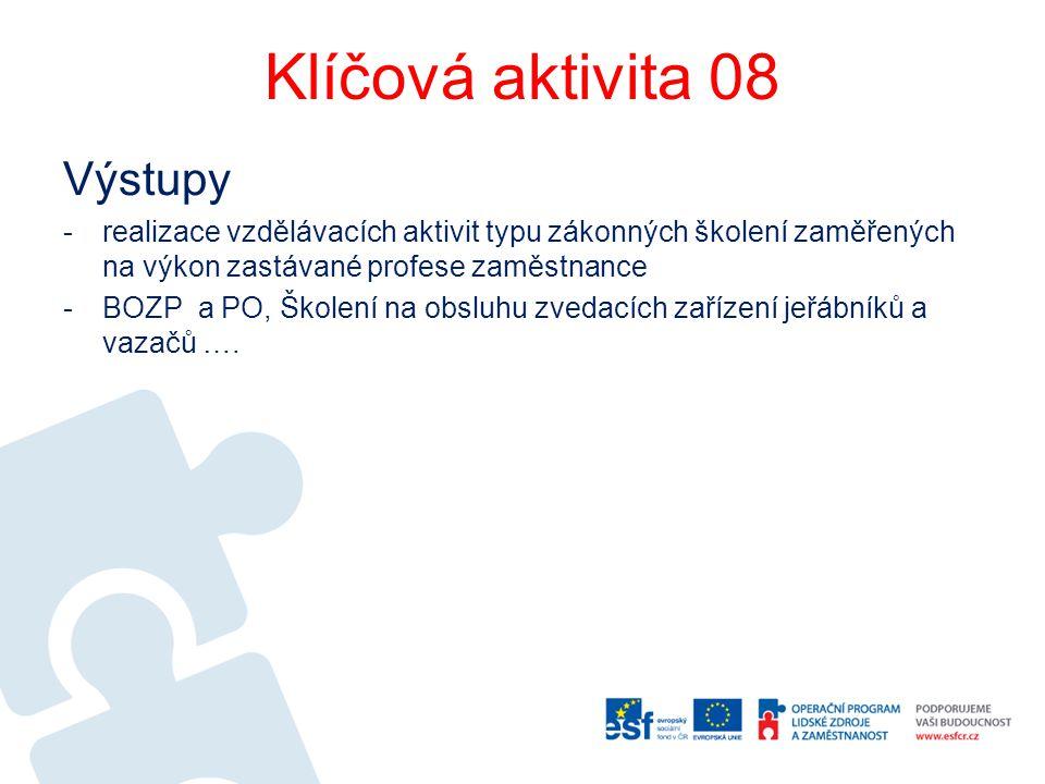 Klíčová aktivita 08 Výstupy -realizace vzdělávacích aktivit typu zákonných školení zaměřených na výkon zastávané profese zaměstnance -BOZP a PO, Škole