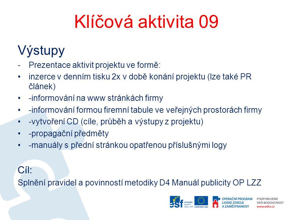 Klíčová aktivita 09 Výstupy -Prezentace aktivit projektu ve formě: inzerce v denním tisku 2x v době konání projektu (lze také PR článek) -informování