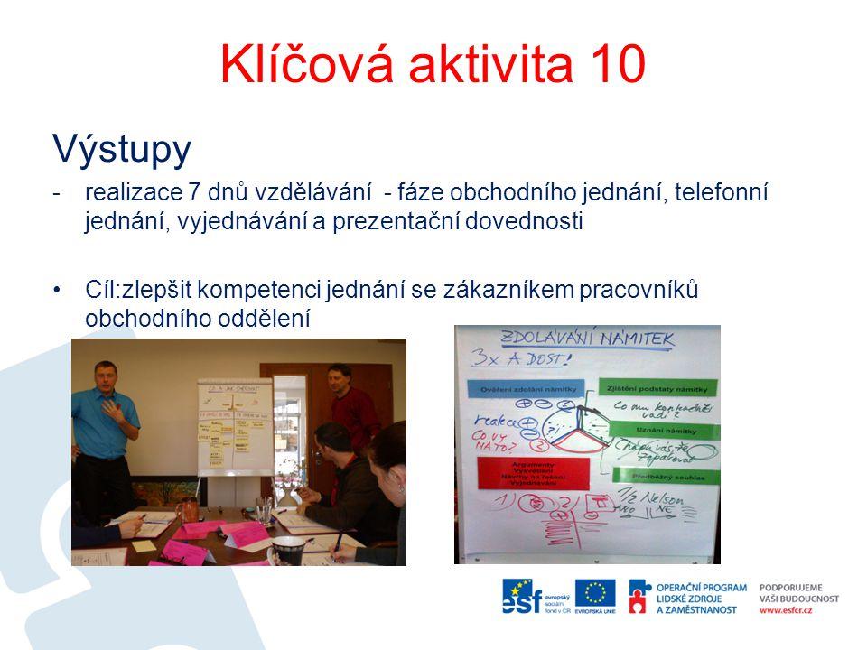 Klíčová aktivita 10 Výstupy -realizace 7 dnů vzdělávání - fáze obchodního jednání, telefonní jednání, vyjednávání a prezentační dovednosti Cíl:zlepšit