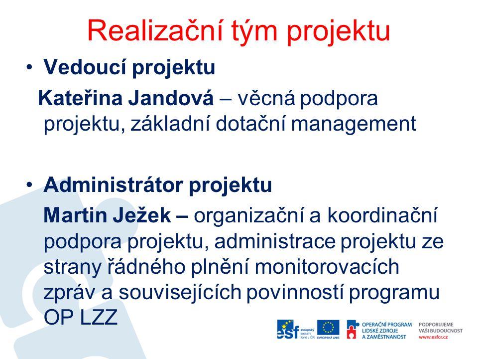 Realizační tým projektu Vedoucí projektu Kateřina Jandová – věcná podpora projektu, základní dotační management Administrátor projektu Martin Ježek –
