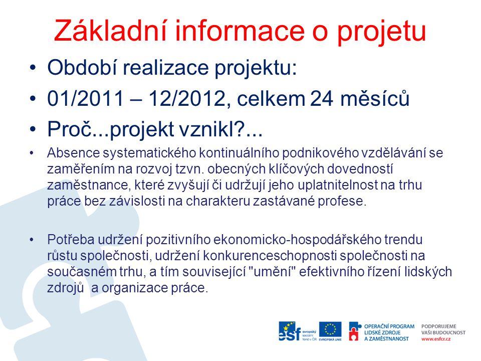 Základní informace o projetu Období realizace projektu: 01/2011 – 12/2012, celkem 24 měsíců Proč...projekt vznikl?... Absence systematického kontinuál