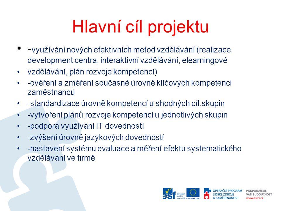 Hlavní cíl projektu - využívání nových efektivních metod vzdělávání (realizace development centra, interaktivní vzdělávání, elearningové vzdělávání, p