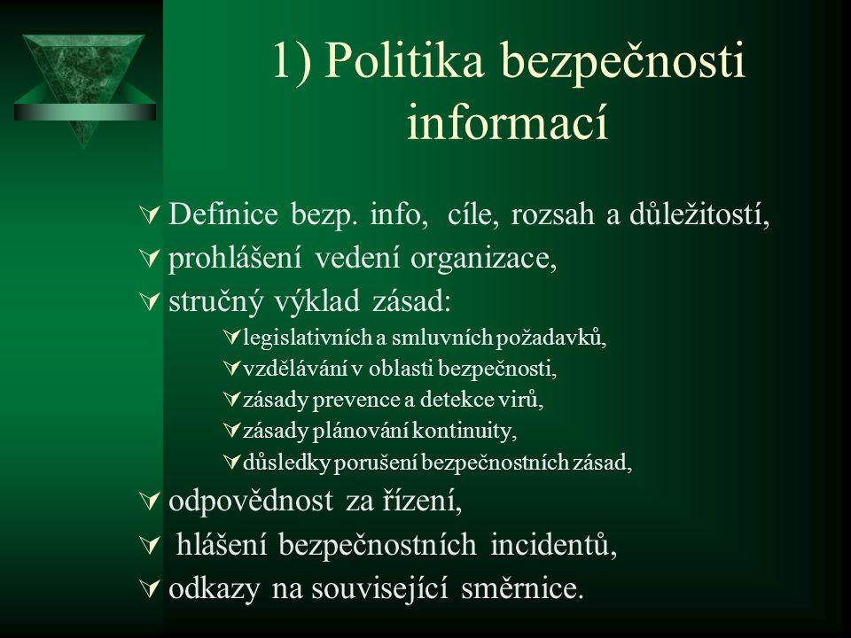 1) Politika bezpečnosti informací  Definice bezp. info, cíle, rozsah a důležitostí,  prohlášení vedení organizace,  stručný výklad zásad:  legisla