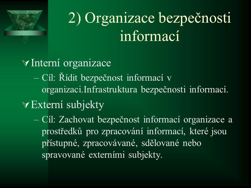2) Organizace bezpečnosti informací  Interní organizace –Cíl: Řídit bezpečnost informací v organizaci.Infrastruktura bezpečnosti informací.  Externí