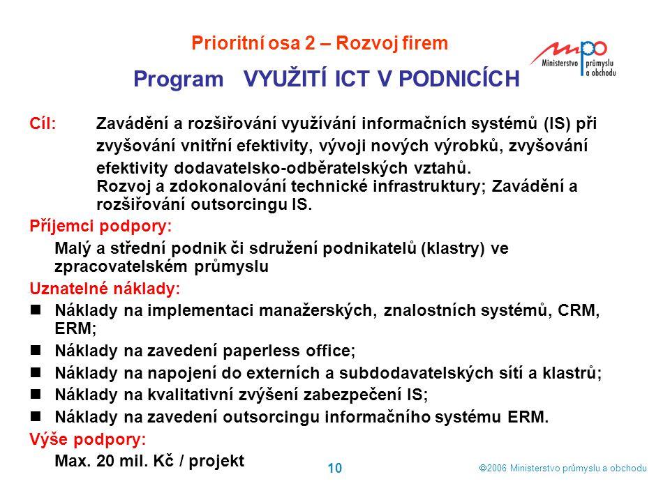  2006  Ministerstvo průmyslu a obchodu 10 Cíl: Zavádění a rozšiřování využívání informačních systémů (IS) při zvyšování vnitřní efektivity, vývoji
