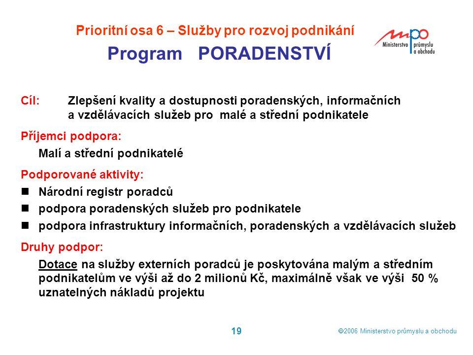  2006  Ministerstvo průmyslu a obchodu 19 Cíl: Zlepšení kvality a dostupnosti poradenských, informačních a vzdělávacích služeb pro malé a střední p