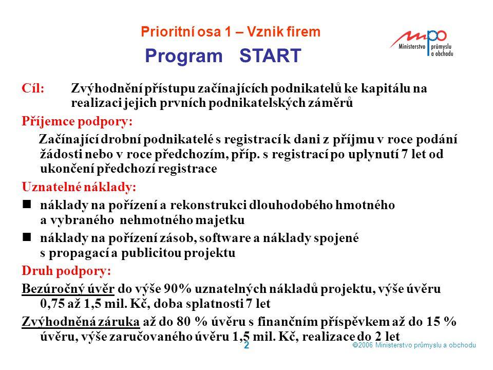  2006  Ministerstvo průmyslu a obchodu 2 Cíl: Zvýhodnění přístupu začínajících podnikatelů ke kapitálu na realizaci jejich prvních podnikatelských