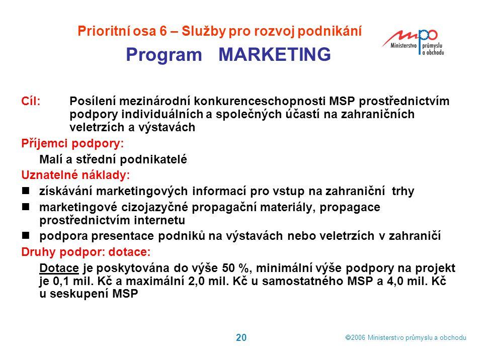  2006  Ministerstvo průmyslu a obchodu 20 Cíl: Posílení mezinárodní konkurenceschopnosti MSP prostřednictvím podpory individuálních a společných úč