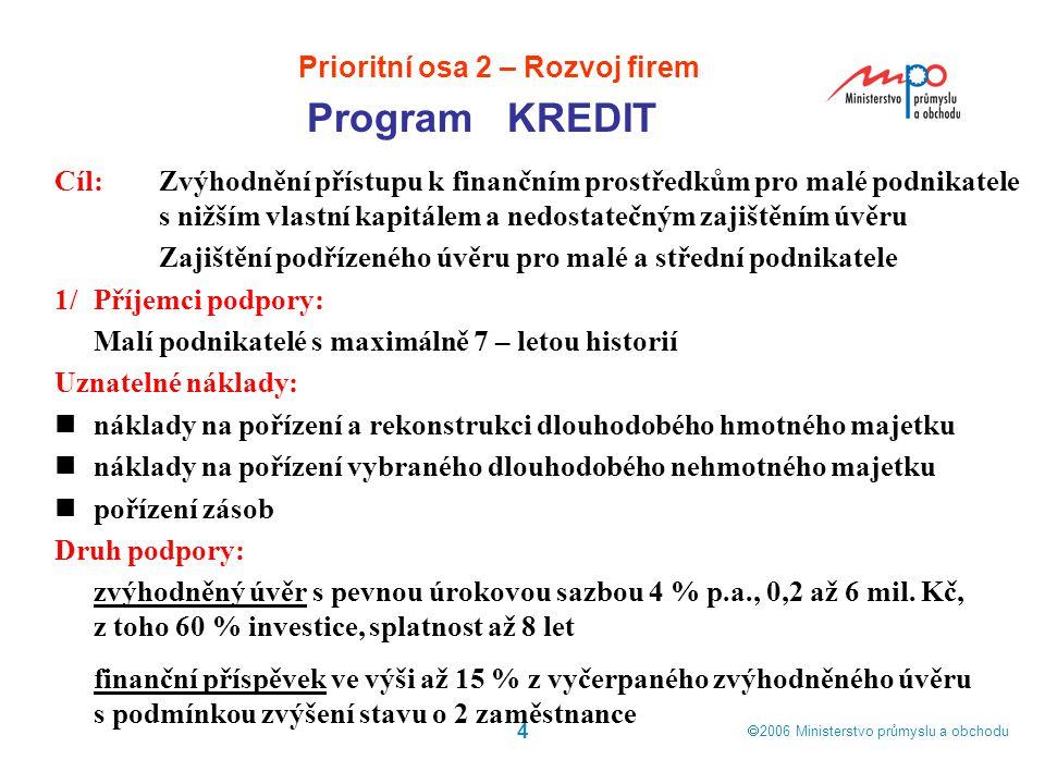  2006  Ministerstvo průmyslu a obchodu 4 Program KREDIT Prioritní osa 2 – Rozvoj firem Cíl:Zvýhodnění přístupu k finančním prostředkům pro malé pod