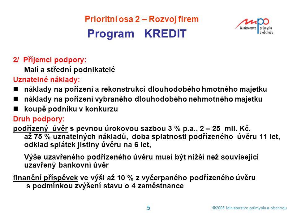  2006  Ministerstvo průmyslu a obchodu 5 2/ Příjemci podpory: Malí a střední podnikatelé Uznatelné náklady: náklady na pořízení a rekonstrukci dlou