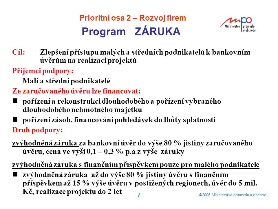  2006  Ministerstvo průmyslu a obchodu 7 Cíl: Zlepšení přístupu malých a středních podnikatelů k bankovním úvěrům na realizaci projektů Příjemci po