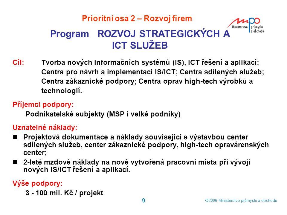  2006  Ministerstvo průmyslu a obchodu 9 Cíl: Tvorba nových informačních systémů (IS), ICT řešení a aplikací; Centra pro návrh a implementaci IS/IC