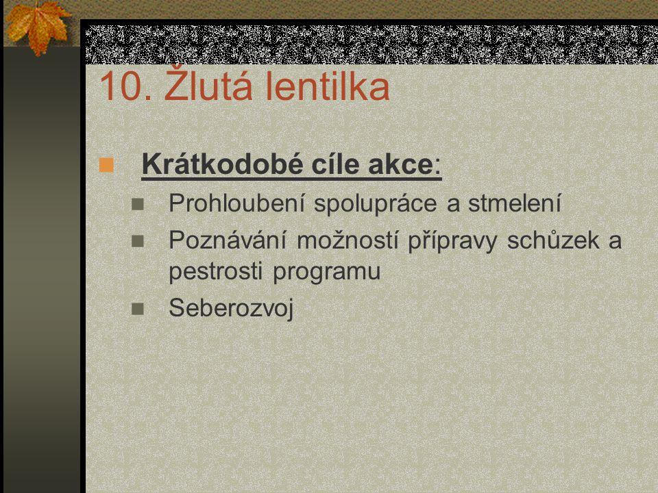 10. Žlutá lentilka Krátkodobé cíle akce: Prohloubení spolupráce a stmelení Poznávání možností přípravy schůzek a pestrosti programu Seberozvoj