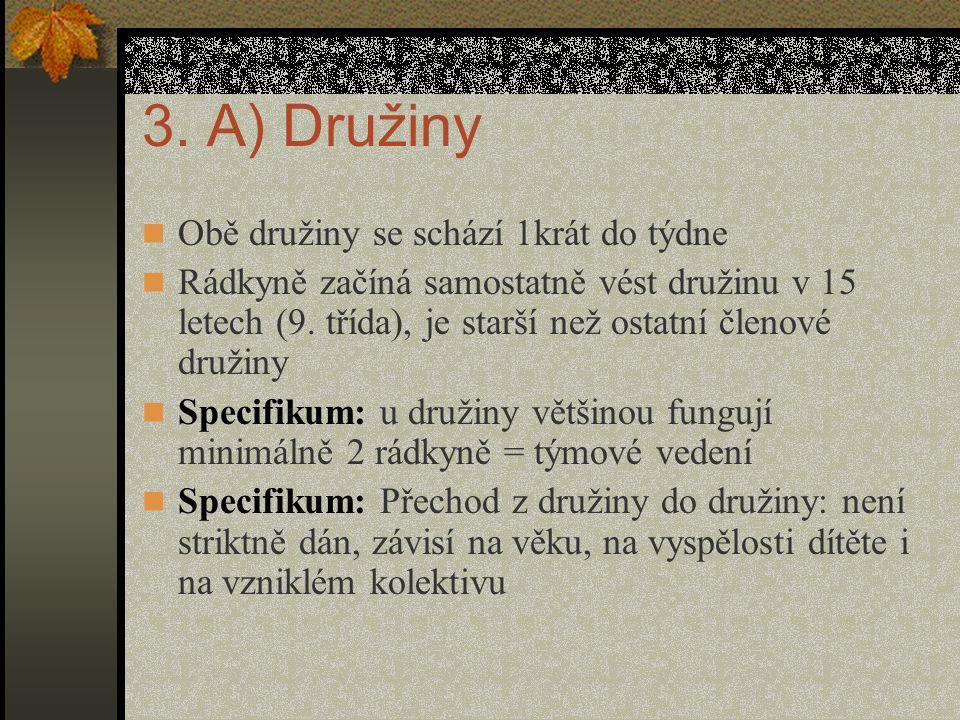 3. A) Družiny Obě družiny se schází 1krát do týdne Rádkyně začíná samostatně vést družinu v 15 letech (9. třída), je starší než ostatní členové družin