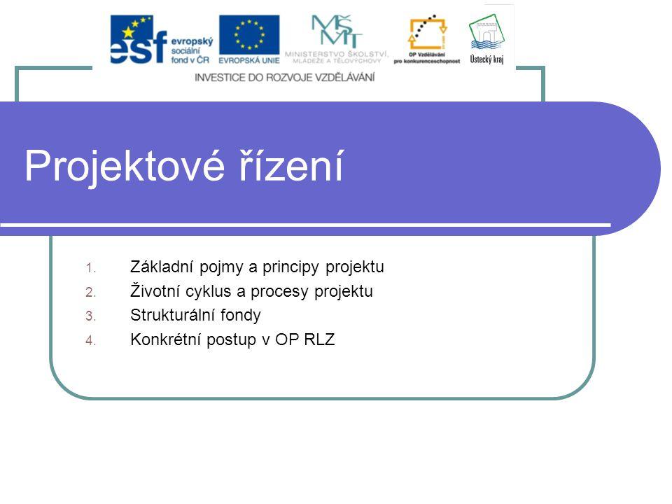 Projektové řízení 1. Základní pojmy a principy projektu 2. Životní cyklus a procesy projektu 3. Strukturální fondy 4. Konkrétní postup v OP RLZ
