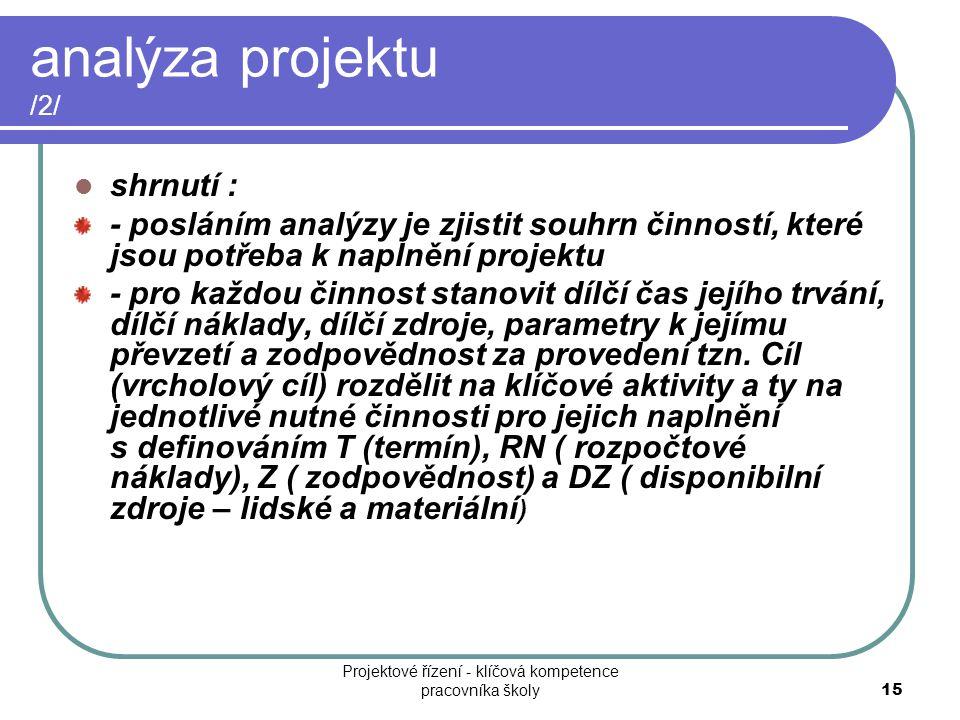 analýza projektu /2/ shrnutí : - posláním analýzy je zjistit souhrn činností, které jsou potřeba k naplnění projektu - pro každou činnost stanovit díl