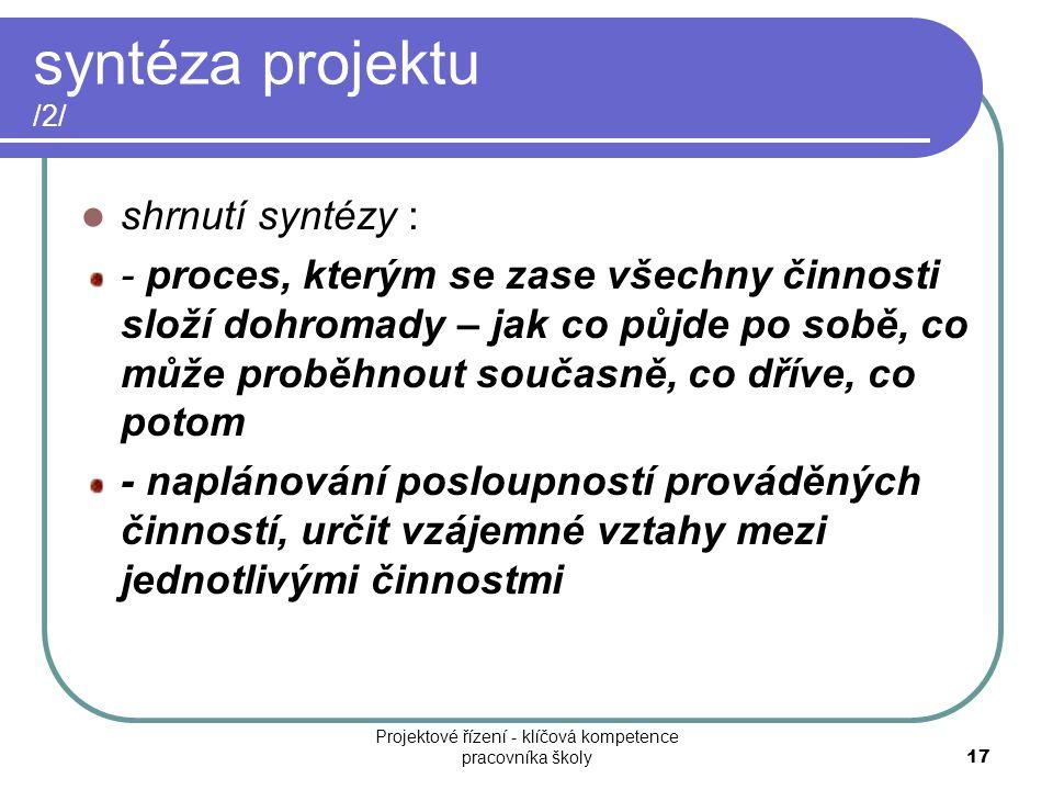 syntéza projektu /2/ shrnutí syntézy : - proces, kterým se zase všechny činnosti složí dohromady – jak co půjde po sobě, co může proběhnout současně,
