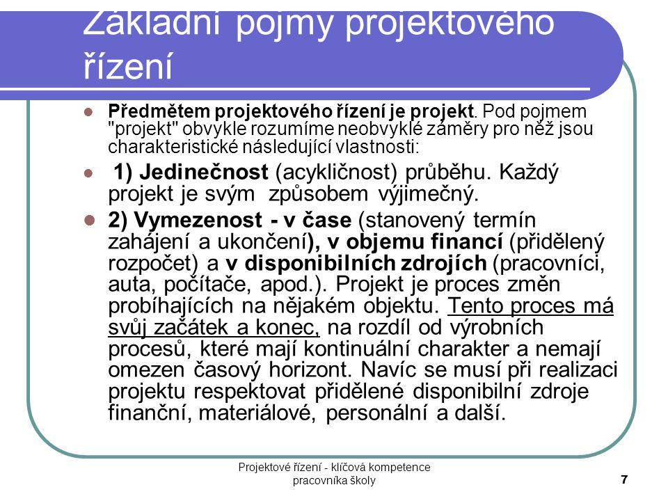 Základní pojmy projektového řízení Předmětem projektového řízení je projekt. Pod pojmem